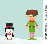 Cute Penguin With Snow And Elf...