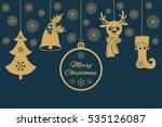 gold christmas pendants such as ... | Shutterstock .eps vector #535126087