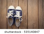 Blue Sneakers On Wooden...