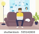 young man sitting on the sofa... | Shutterstock .eps vector #535142833