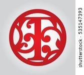 framed monogram letter t. laser ... | Shutterstock .eps vector #535147393