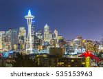 Seattle City Scape On Christma...