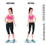 before and after weight loss... | Shutterstock .eps vector #535154593