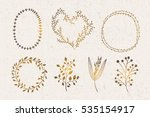 gold wreaths and plants design... | Shutterstock .eps vector #535154917