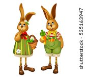 Two Cute Cartoon Easter Rabbit...