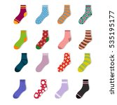 colorful cute child socks icons.... | Shutterstock .eps vector #535195177