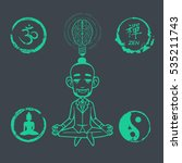 vector set of yoga and buddhism ... | Shutterstock .eps vector #535211743