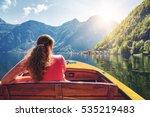 Girl In Pleasure Boat. Lake...