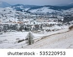 carpathian village winter view... | Shutterstock . vector #535220953