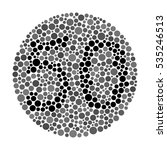 a color blindness test shaped...