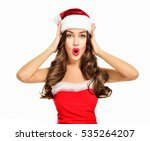 beautiful  girl wearing santa... | Shutterstock . vector #535264207