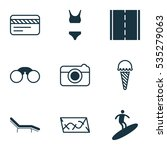 set of 9 tourism icons....