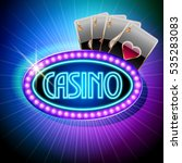 neon vector emblem for casino | Shutterstock .eps vector #535283083