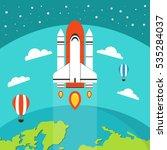 startup concept. rocket launch... | Shutterstock .eps vector #535284037