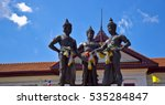 Small photo of 3 Kings Monument in front of Art and culture city with blue sky cloud , Chiang Mai,northern of Thailand