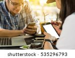 three people using smartphone   ... | Shutterstock . vector #535296793