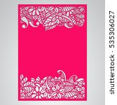 die cut card. laser cut vector... | Shutterstock .eps vector #535306027