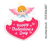 baby angel vector cartoon... | Shutterstock .eps vector #535306387