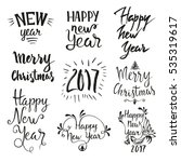 hand drawn merry christmas and... | Shutterstock .eps vector #535319617