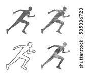 black line runner figure on... | Shutterstock .eps vector #535336723