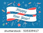 greeting card with ribbon and... | Shutterstock .eps vector #535339417