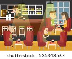 coffee shops with diners ... | Shutterstock .eps vector #535348567