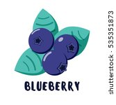 vector blueberry icon. flat... | Shutterstock .eps vector #535351873