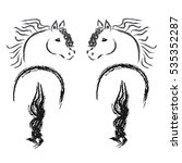 friesian horses on white... | Shutterstock .eps vector #535352287