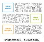 vector line concept online... | Shutterstock .eps vector #535355887