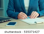 business agreement signing ... | Shutterstock . vector #535371427