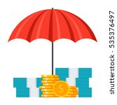 money under umbrella concept... | Shutterstock .eps vector #535376497