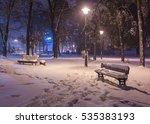 Winter Night Landscape  Bench...