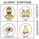 allergy symptoms line style... | Shutterstock .eps vector #535397317