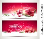 vector set of two christmas... | Shutterstock .eps vector #535398823