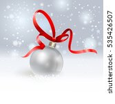 christmas ball with red ribbon.  | Shutterstock . vector #535426507