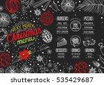 christmas restaurant menu with... | Shutterstock .eps vector #535429687