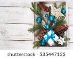christmas background. fir tree... | Shutterstock . vector #535447123