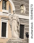 Small photo of Allegorical statue of Spring in Popolo Square of Rome Italy, carved by Filippo Gnaccarini