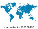 Blue World Map Vector On White...