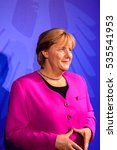Small photo of AMSTERDAM, NETHERLANDS - OCT 26, 2016: Angela Merkel, German cancelloe, Madame Tussauds wax museum in Amsterdam. One of the popular touristic attractions