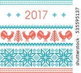 new year 2017 knitted... | Shutterstock .eps vector #535595137