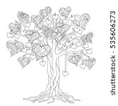 hand drawn decorated tree of... | Shutterstock . vector #535606273