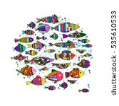 art fish collection  sketch for ... | Shutterstock .eps vector #535610533
