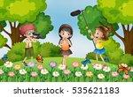 children filming video in the... | Shutterstock .eps vector #535621183