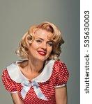 smiling retro pinup coquettish... | Shutterstock . vector #535630003