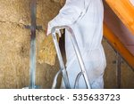 Small photo of Attic loft insulation with amen on a ladder