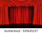 red curtains and wooden stage... | Shutterstock . vector #535635157