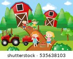 children pick up fruit in the... | Shutterstock .eps vector #535638103