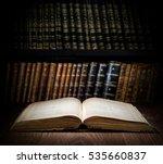 open old book on a bookshelf... | Shutterstock . vector #535660837