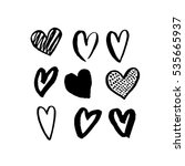 vector heart icons hand drawn... | Shutterstock .eps vector #535665937